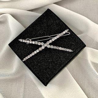 Rhinestone Cross Hair Clip Silver - One Size
