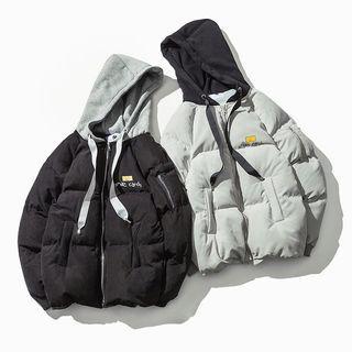 Smiley Print Hooded Padded Jacket