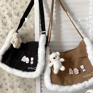 Faux Fur Trim Messenger Bag