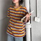 Shirt-sleeve Striped T-shirt