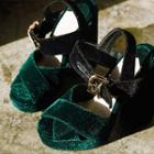 Cross-strap Velvet Wedge Sandals