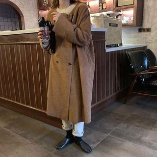 Double-breasted Fleece Long Coat Camel - One Size