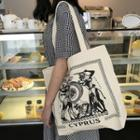 Printed Canvas Tote Bag Shoulder Bag - White - One Size
