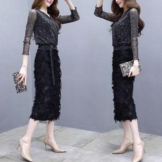 Set: Sequined Long-sleeve Mesh Top + Fringed Trim Midi A-line Skirt