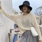 Long-sleeve Pointelle Knit Top
