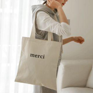 Merci Printed Canvas Shopper Bag Oatmeal - One Size