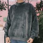 Mock Neck Velvet Sweatshirt