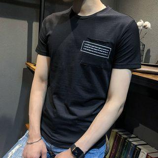 Short-sleeve Letter Pocketed T-shirt