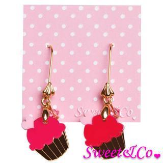 Sweet&co Mini Gold Fuchsia Cupcake Crystal Earrings Gold - One Size