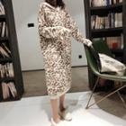 Leopard Print Knit Midi Hoodie Dress