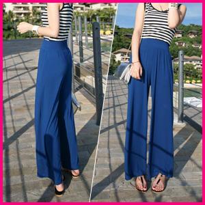 Elastic-waist Wide-leg Pants