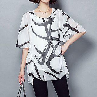 Elbow-sleeve Patterned Chiffon Top