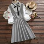 Long-sleeve Floral Embroidered Plaid Panel Frill Collar Dress