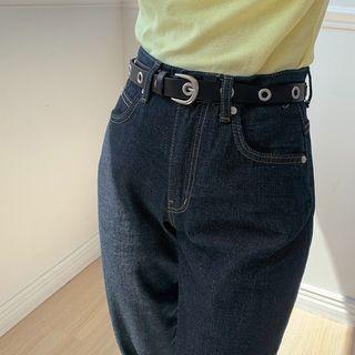 Eyelet Faux-leather Belt Black - One Size