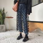 Dotted Mesh Inset Jeans
