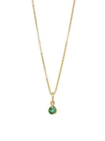 Jennifer Meyer Single Drop Emerald Necklace
