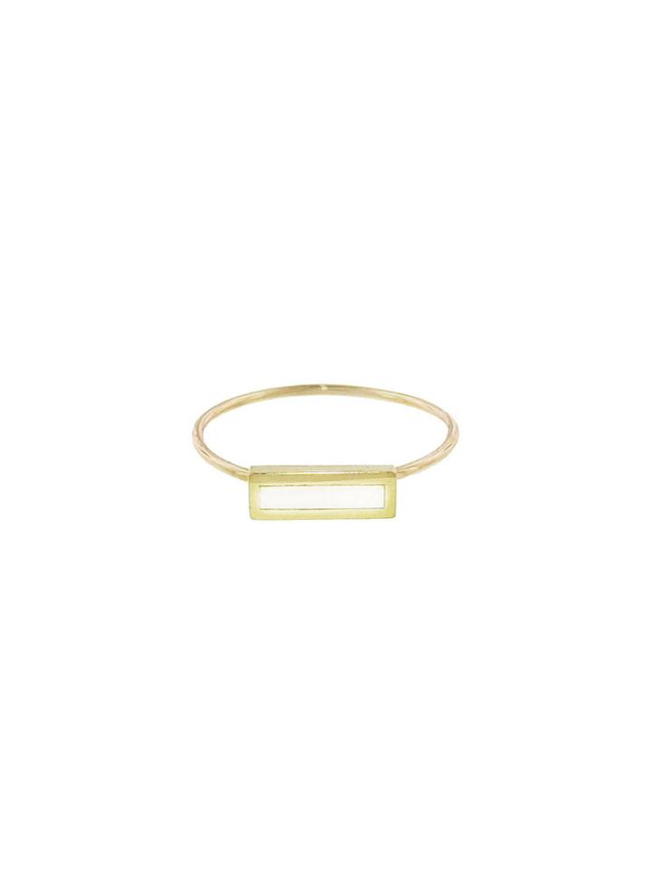 Jennifer Meyer Mother Of Pearl Inlay Bar Ring