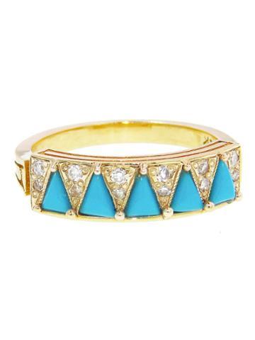 Mociun Turquoise Triangle Ring
