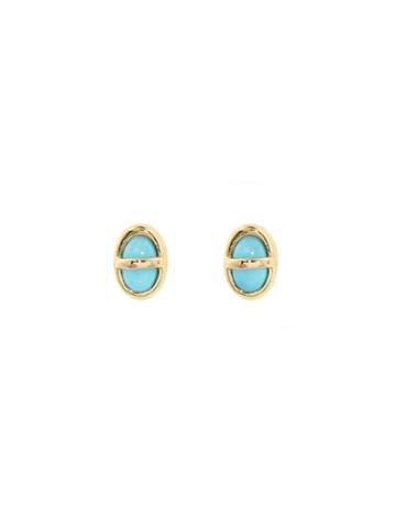 Mociun Gold Wrapped Turquoise Studs