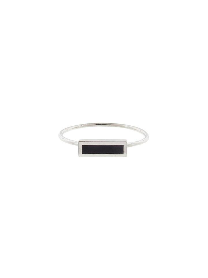Jennifer Meyer Black Onyx Inlay Bar Ring - White Gold