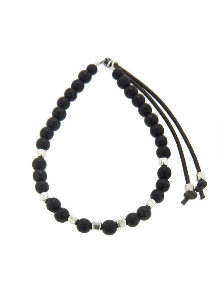 Catherine Michiels Men's Black Ebony And Silver Cubes Stardust Bracelet