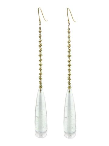 Ten Thousand Things Long Crystal Drop Earrings With Gold Beaded Work