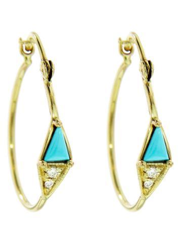 Mociun Turquoise And Diamond Hoops