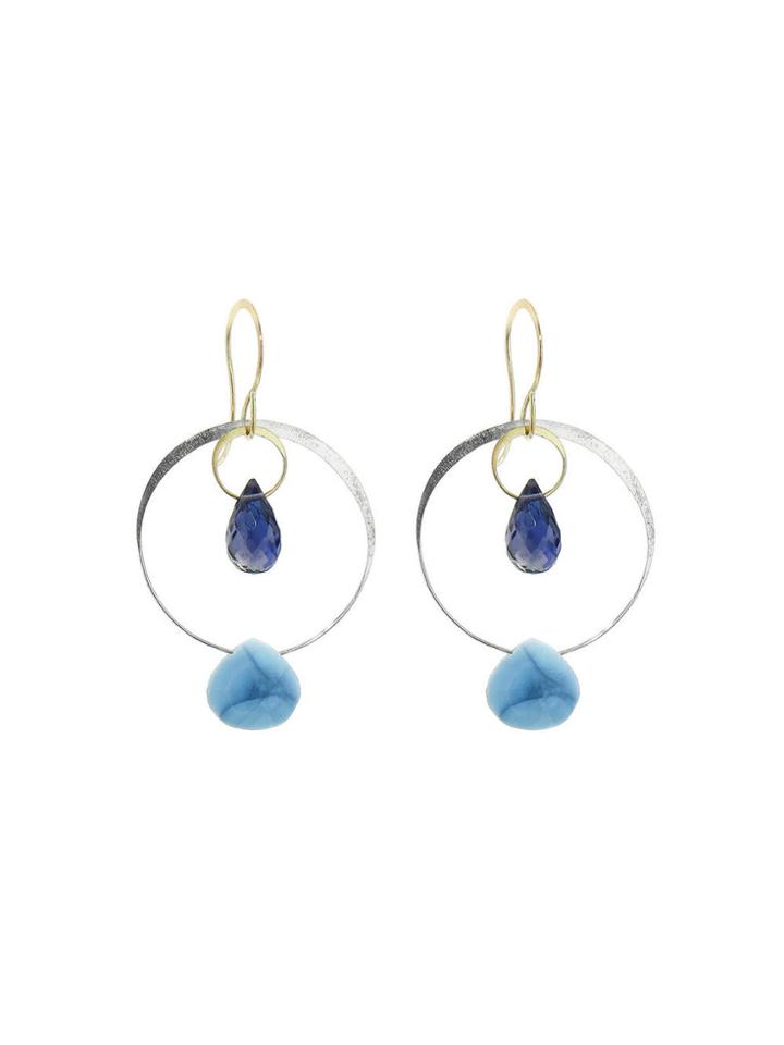 Melissa Joy Manning Iolite And Blue Opal Drop Earrings