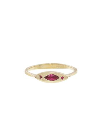 Lori Mclean Pink Sapphire And Ruby Deco Evil Eye Ring