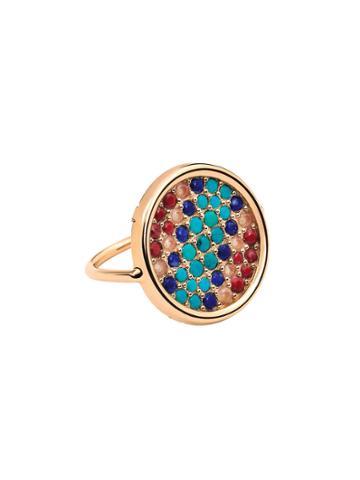 Ginette Ny Multi Stone Disc Ring - Rose Gold