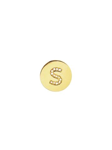 Jennifer Meyer Personalized Diamond Mini Disc Stud - Initial S