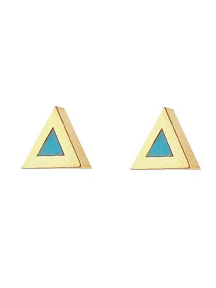 Jennifer Meyer Turquoise Inlay Triangle Studs - Yellow Gold