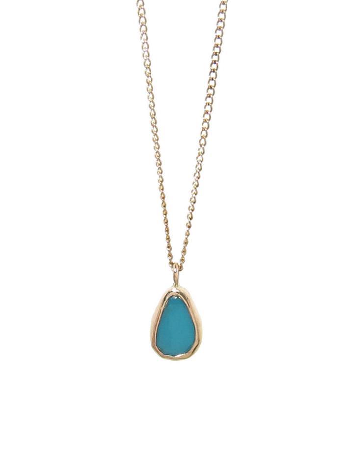 Melissa Joy Manning Turquoise Freeform Necklace - Yellow Gold