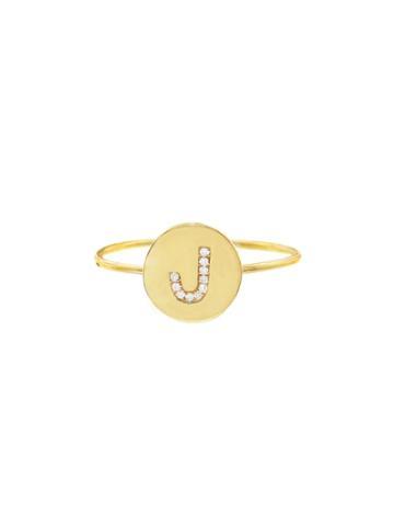 Jennifer Meyer Diamond Mini Disc Ring - Initial J