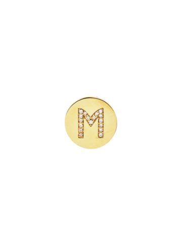 Jennifer Meyer Personalized Diamond Mini Disc Stud - Initial M
