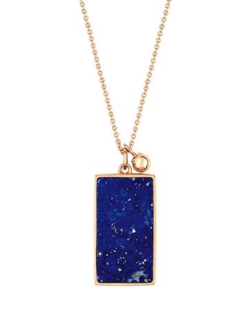 Ginette Ny Ever Rectangle Lapis Necklace - Rose Gold