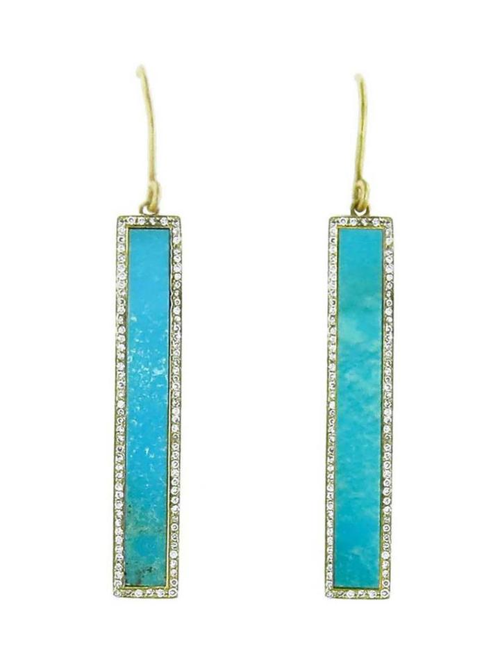 Jennifer Meyer Diamond Turquoise Inlay Bar Earrings - Yellow Gold