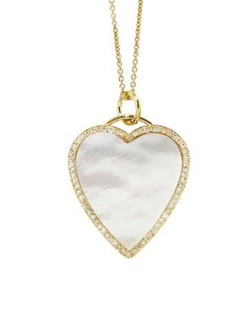 Jennifer Meyer Diamond Mother Of Pearl Hear Inlay Necklace