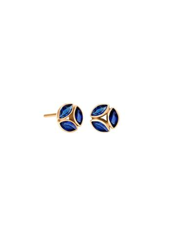 Ylang 23 Blue Sapphire Cluster Hazel Studs - Yellow Gold