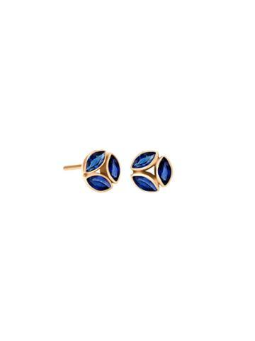 Ylang 23 Blue Sapphire Cluster Hazel Studs - Yellow Gold