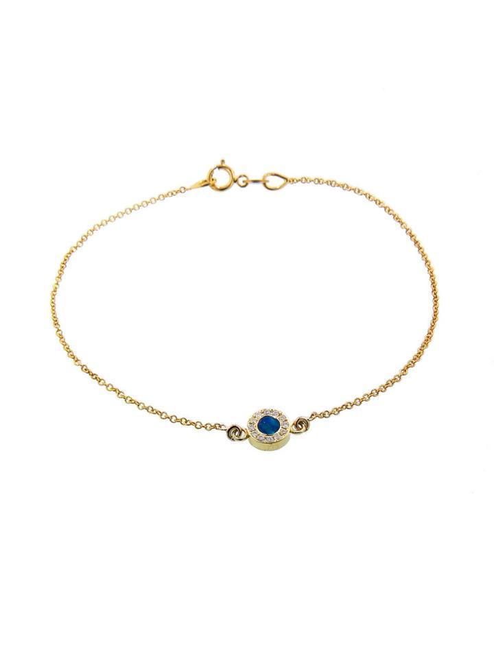 Jennifer Meyer Diamond Opal Inlay Circle Bracelet - Yellow Gold