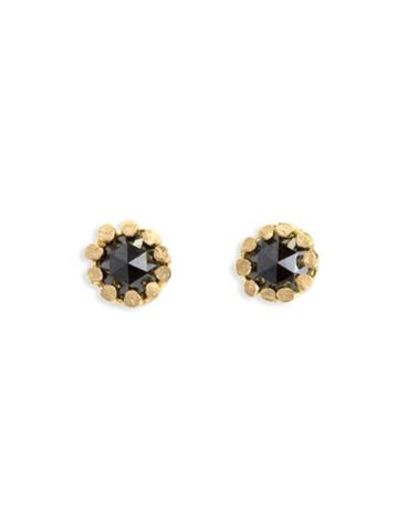 Satomi Kawakita Rose Cut Black Diamond Flower Studs - Yellow Gold