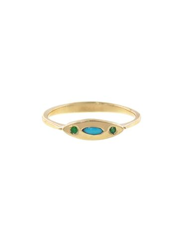 Lori Mclean Deco Evil Eye Ring With Turquoise And Emeralds