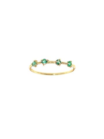 Wwake Four-step Emerald Ring