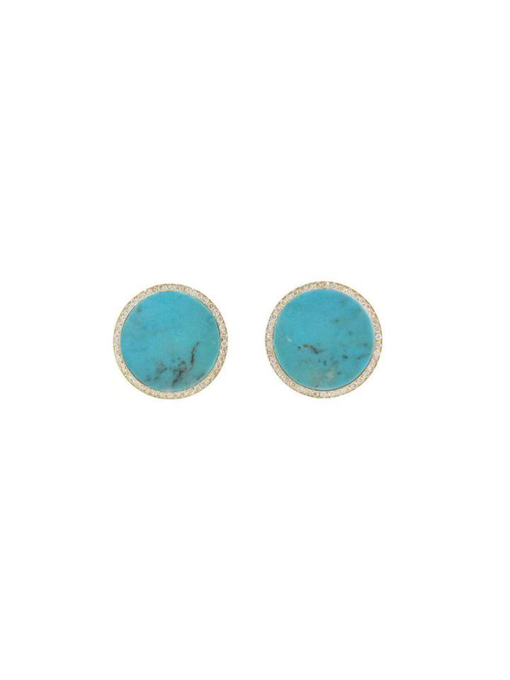 Jennifer Meyer Large Turquoise Circle Studs With Diamonds - Yellow Gold