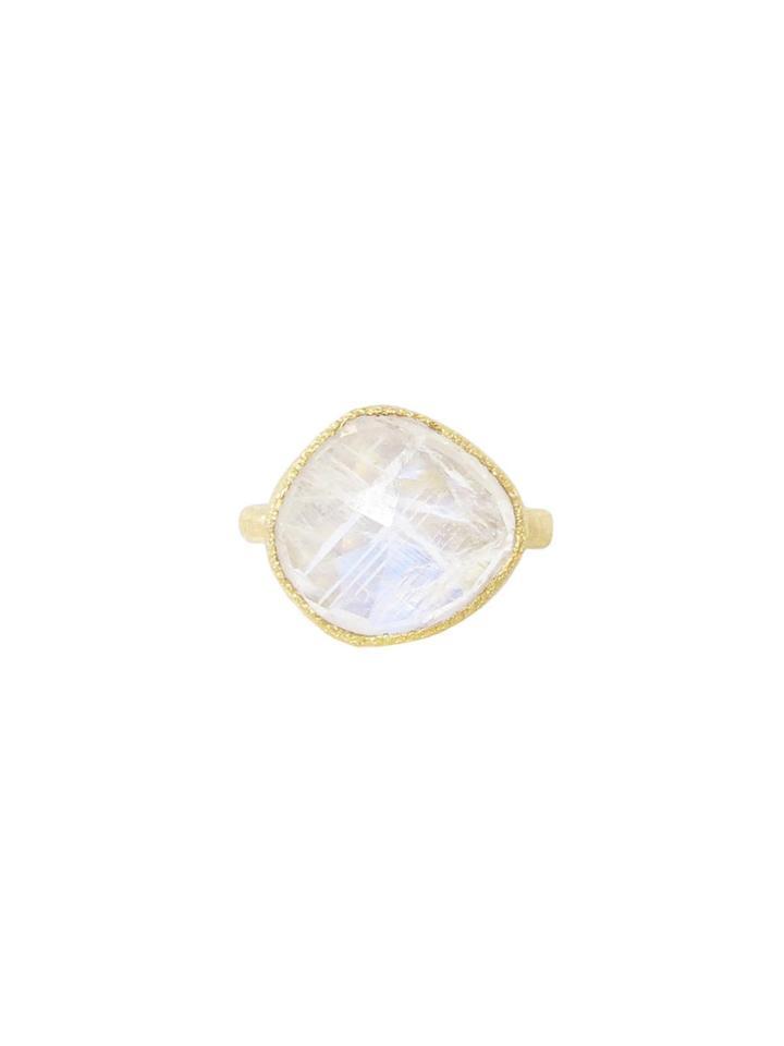 Yasuko Azuma Irregular Rainbow Moonstone Ring