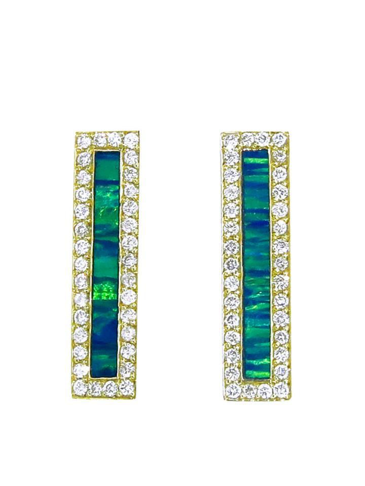 Jennifer Meyer Diamond Opal Inlay Long Bar Studs - Yellow Gold