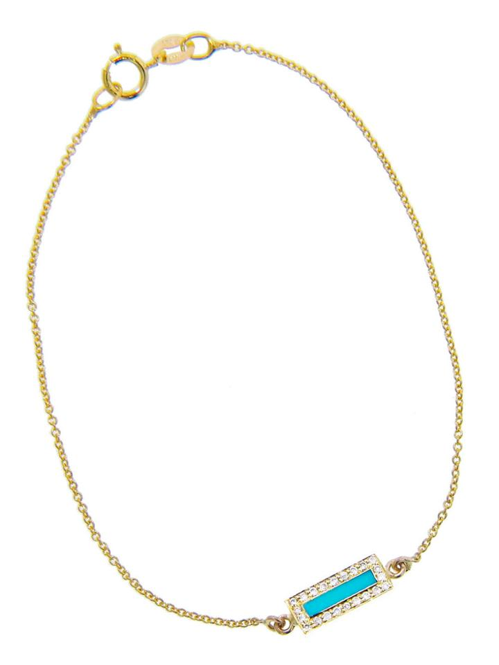 Jennifer Meyer Short Turquoise Inlay Bar Bracelet With Diamonds - Yellow Gold