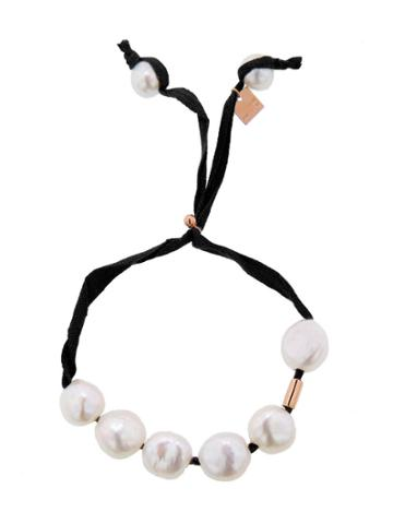 Ginette Ny Pearls And Cotton Bracelet - Black