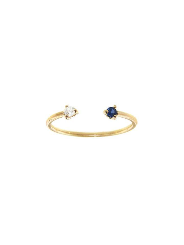 Wwake Two-step Sapphire And White Diamond Ring